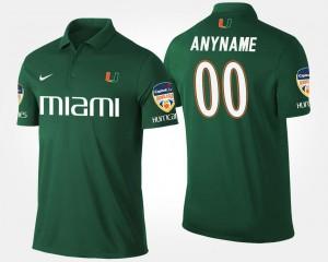 Miami Hurricanes Customized Polo #00 Green Orange Bowl Bowl Game Mens