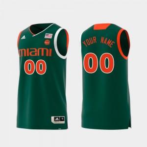 Miami Hurricanes Customized Jersey Replica #00 Swingman College Basketball Green For Men's