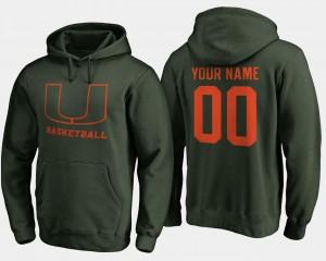 Miami Hurricanes Customized Hoodie Men's Green Basketball - #00
