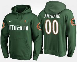 Miami Hurricanes Customized Hoodies #00 Green For Men's