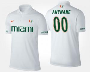 Miami Hurricanes Customized Polo #00 Mens White