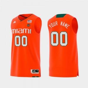 Miami Hurricanes Custom Jerseys Replica Men's Orange #00 Swingman College Basketball