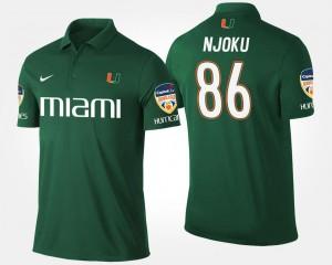 Miami Hurricanes David Njoku Polo #86 For Men's Green Orange Bowl Bowl Game