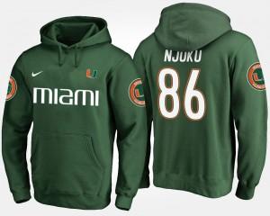 Miami Hurricanes David Njoku Hoodie #86 Green For Men's