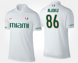 Miami Hurricanes David Njoku Polo #86 White Men