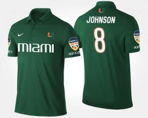 Miami Hurricanes Duke Johnson Polo For Men Green #8 Orange Bowl Bowl Game
