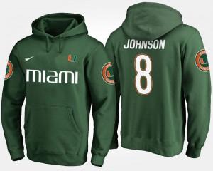 Miami Hurricanes Duke Johnson Hoodie Green Mens #8