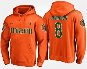 Miami Hurricanes Duke Johnson Hoodie #8 Orange For Men's