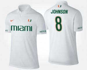 Miami Hurricanes Duke Johnson Polo Men's White #8