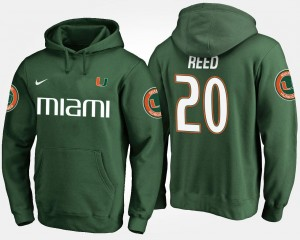 Miami Hurricanes Ed Reed Hoodie #20 For Men's Green