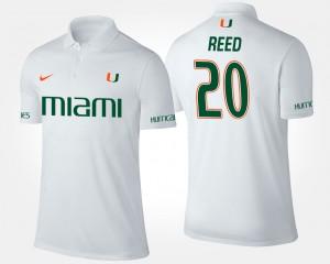 Miami Hurricanes Ed Reed Polo White For Men's #20