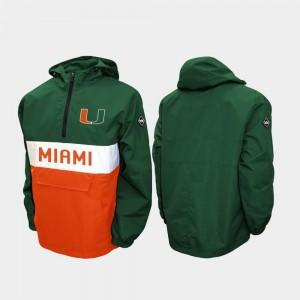 Miami Hurricanes Jacket Green Alpha Anorak Pullover Men Half-Zip