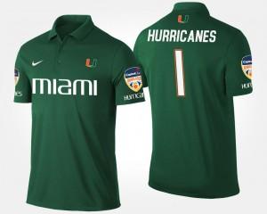 Miami Hurricanes Polo For Men's No.1 Orange Bowl Bowl Game #1 Green