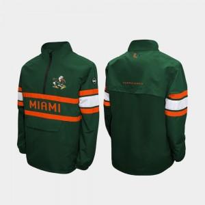 Miami Hurricanes Jacket Alpha Windshell Pullover Quarter-Zip Green For Men