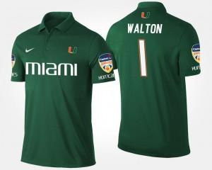 Miami Hurricanes Mark Walton Polo Green For Men's Orange Bowl #1 Bowl Game