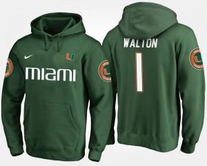 Miami Hurricanes Mark Walton Hoodie #1 Green For Men