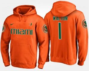 Miami Hurricanes Mark Walton Hoodie #1 Orange For Men