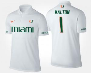 Miami Hurricanes Mark Walton Polo Mens #1 White