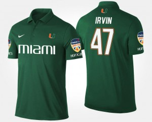 Miami Hurricanes Michael Irvin Polo #47 Bowl Game Mens Orange Bowl Green
