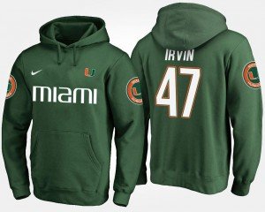 Miami Hurricanes Michael Irvin Hoodie Green #47 Mens