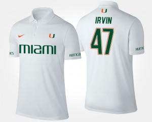 Miami Hurricanes Michael Irvin Polo Men White #47