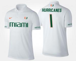 Miami Hurricanes Polo No.1 Short Sleeve White #1 For Men's
