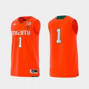 Miami Hurricanes Jersey Men Basketball Swingman Orange College Replica #1