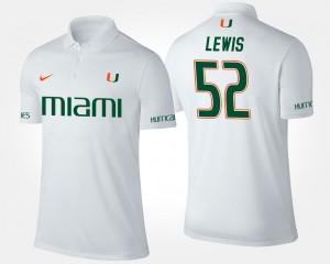 Miami Hurricanes Ray Lewis Polo #52 Mens White
