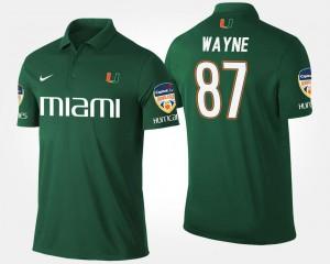 Miami Hurricanes Reggie Wayne Polo #87 Bowl Game Green Orange Bowl Men