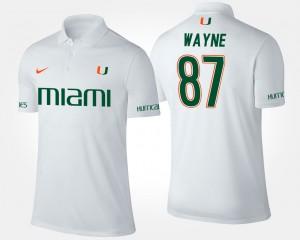 Miami Hurricanes Reggie Wayne Polo White For Men #87