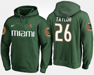 Miami Hurricanes Sean Taylor Hoodie For Men's #26 Green