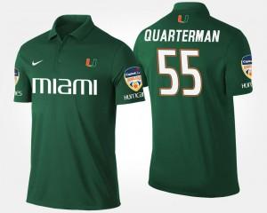 Miami Hurricanes Shaquille Quarterman Polo #55 Orange Bowl Bowl Game For Men's Green