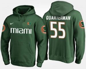 Miami Hurricanes Shaquille Quarterman Hoodie For Men Green #55