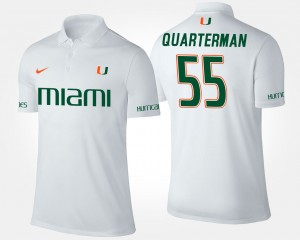 Miami Hurricanes Shaquille Quarterman Polo Men's #55 White