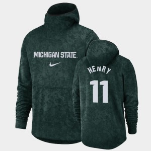 Michigan State Spartans Aaron Henry Hoodie Green For Men's #11 Basketball Spotlight Pullover Team Logo