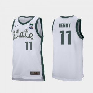 Michigan State Spartans Aaron Henry Jersey #11 White Retro Performance 2019 Final-Four For Men