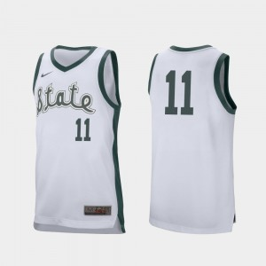 Michigan State Spartans Aaron Henry Jersey Retro Performance #11 White Men's College Basketball