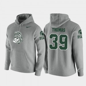 Michigan State Spartans Alante Thomas Hoodie Heathered Gray #39 Vault Logo Club Pullover Men