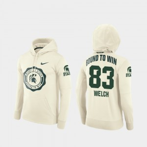 Michigan State Spartans Andre Welch Hoodie Mens College Football Pullover Rival Therma #83 Cream