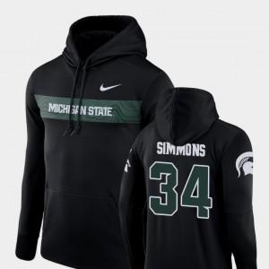 Michigan State Spartans Antjuan Simmons Hoodie Black Sideline Seismic Mens Football Performance #34