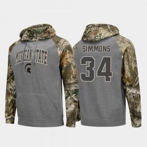 Michigan State Spartans Antjuan Simmons Hoodie Men Charcoal College Football Raglan Realtree Camo #34