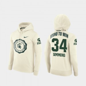 Michigan State Spartans Antjuan Simmons Hoodie College Football Pullover Rival Therma #34 Cream For Men