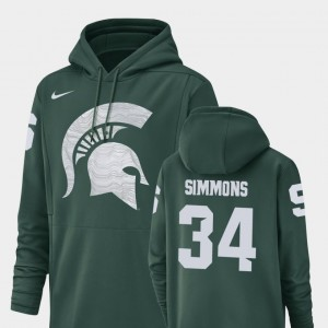 Michigan State Spartans Antjuan Simmons Hoodie For Men Green #34 Football Performance Champ Drive