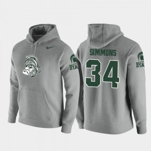 Michigan State Spartans Antjuan Simmons Hoodie Vault Logo Club Heathered Gray For Men's Pullover #34