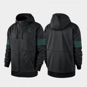 Michigan State Spartans Hoodie Black 2019 Sideline Therma-FIT For Men's Performance Full-Zip