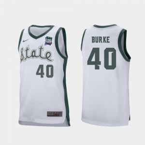 Michigan State Spartans Braden Burke Jersey Mens Retro Performance #40 2019 Final-Four White