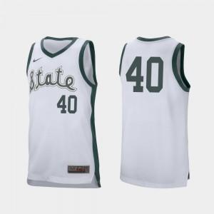 Michigan State Spartans Braden Burke Jersey College Basketball Men's White Retro Performance #40