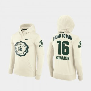 Michigan State Spartans Brandon Sowards Hoodie Men's Cream #16 College Football Pullover Rival Therma