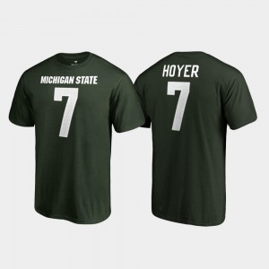 Michigan State Spartans Brian Hoyer T-Shirt Green Name & Number #7 For Men's College Legends