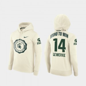 Michigan State Spartans Brian Lewerke Hoodie Rival Therma #14 For Men's College Football Pullover Cream